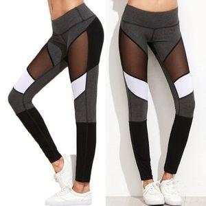 NWT colorblock mesh cutout yoga workout leggings
